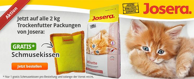 Aktion: Jetzt auf alle 2kg Trockenfutter Packungen von Josera gibt es ein Gratis Schmusekissen