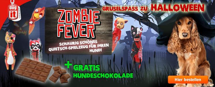 Gruselspaß zu Halloween von dog it: Zombi Fever! Kaufen Sie ihrem Liebling eins der fünf schaurig schönen Grusel-Quitschies und erhalten sie eine Tafen leckere Hundeschokolade dazu!