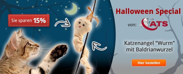 Das Halloween Special von 4cats: Katzenangel Wurm mit Baldrianwurzel. Jetzt 15% Halloween Rabatt!