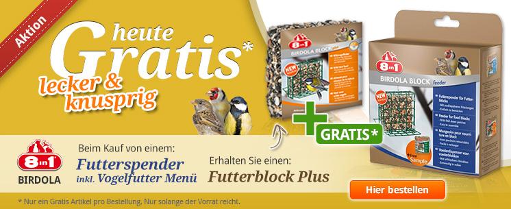 Nur für kurze Zeit: Beim Kauf eines Futterspenders inkl. Futter von 8in1 Birdola erhalten Sie einen Futterblock Plus gratis dazu!