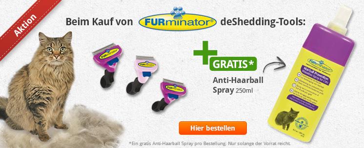 Kaufen Sie deShedding Tools von FURminator für ihren Liebling und erhalten Sie ein Anti-Haarballspray 250ml von deShedding gratis dazu!