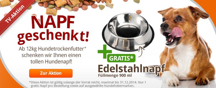 Die Aktion zu unserem TV Spot: Gratis Edelstahl Napf für Hunde gibt es beim Kauf von Hundetrockenfutter ab 12kg!