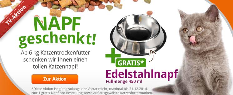 Die Aktion zu unserem TV Spot: Gratis Edelstahl Napf für Hunde gibt es beim Kauf von Katzentrockenfutter ab 6kg!