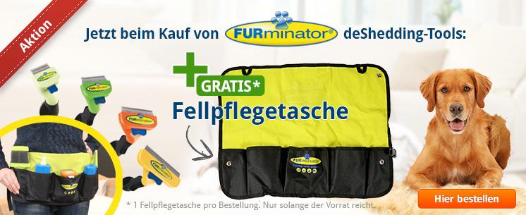 Jetzt beim Kauf von FURminator deShedding-Tools für den Hund eine Fellpflegetasche gratis