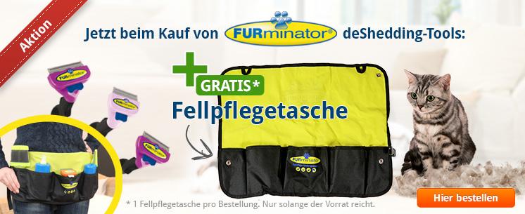 Jetzt beim Kauf von FURminator deShedding-Tools für die Katze eine Fellpflegetasche gratis