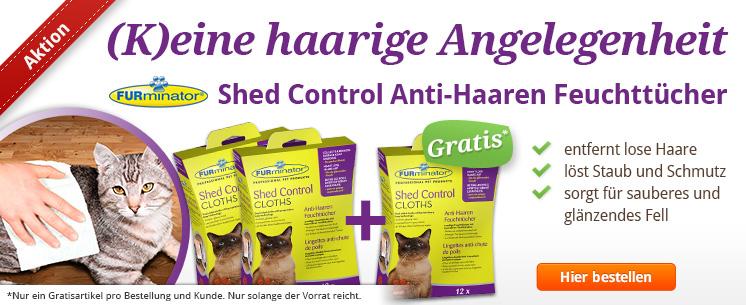 (K)eine haarige Angelegenheit: Die Shed Control Anti-Haaren Feuchttücher für Katzen. Zum Entfernen loser Haare und Staub vom Fell.