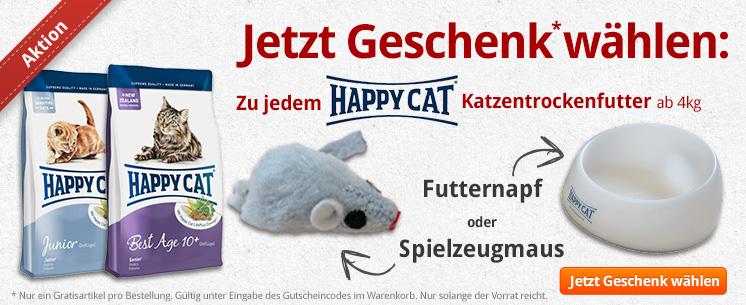 Jetzt Happy Cat Katzentrockenfutter ab 4kg kaufen und eins von zwei tollen Geschenken wählen: den exklusiven Futternapf oder die süße Spielzeugmaus!