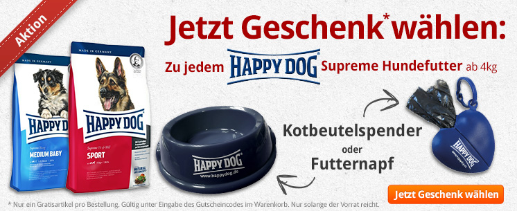 Jetzt Happy Dog Supreme Futter ab 4kg kaufen und eins aus zwei Geschenken dazu wählen: den schicken Futternapf oder den praktischen Kotbeutelspender in Herzform!