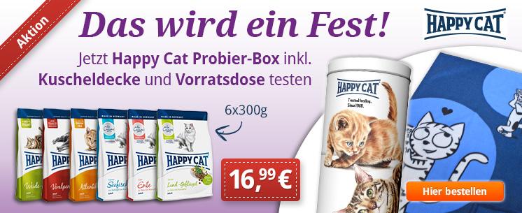 Das wird ein Fest mit Happy Cat: Sichern Sie sich jetzt das Weihnachtsbundle 6x300g Trockenfutter inkl. Happy Cat Vorratsdose und Kuscheldecke.