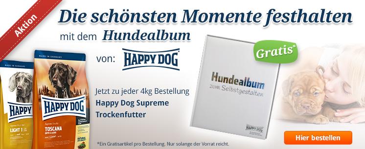 Halten Sie die schönsten Momente mit Ihrem Liebling fest mit dem praktischen Hundealbum zum Selbstgestalten von Happy Dog. Jetzt zu jeder 4kg Bestellung Trockenfutter Happy Dog Supreme!
