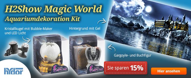 Bringen Sie Halloween in Ihr Aquarium, mit dem H2Show Magic World Aquariumsdekorations Kit von Hydor. Jetzt vom Halloween Special Rabatt von 15% profitieren.