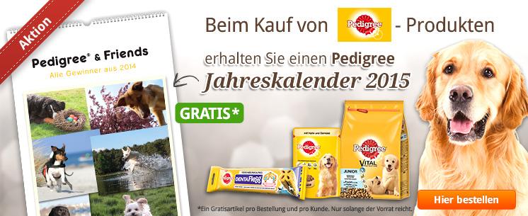 Nur für kurze Zeit: Kaufen Sie Pedigree-Produkte und erhalten Sie einen Pedigree Jahreskalender 2015 gratis dazu!