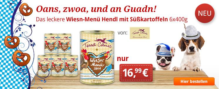 O zapt is! Jetzt pünktlich zum Oktoberfest: Das leckere Wiesn-Menü Hendl mit Süßkartoffeln von Terra Canis. 6x400g für nur 16,99 €!