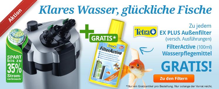 Klares Wasser, glückliche Fische! Beim Kauf eines Tetra EX PLUS Außenfilters gibt es nun das Filter Active Wasserpflegemittel (100ml) gratis dazu!