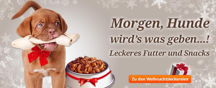 Morgen, Hunde wirds was geben...! Leckeres Futter und Snacks für Ihren Vierbeiner.